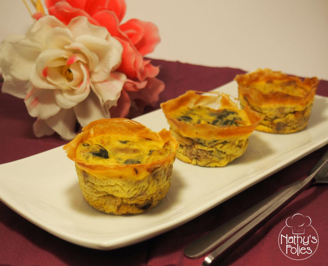 Flans aux épinards, noix et curry sans lactose