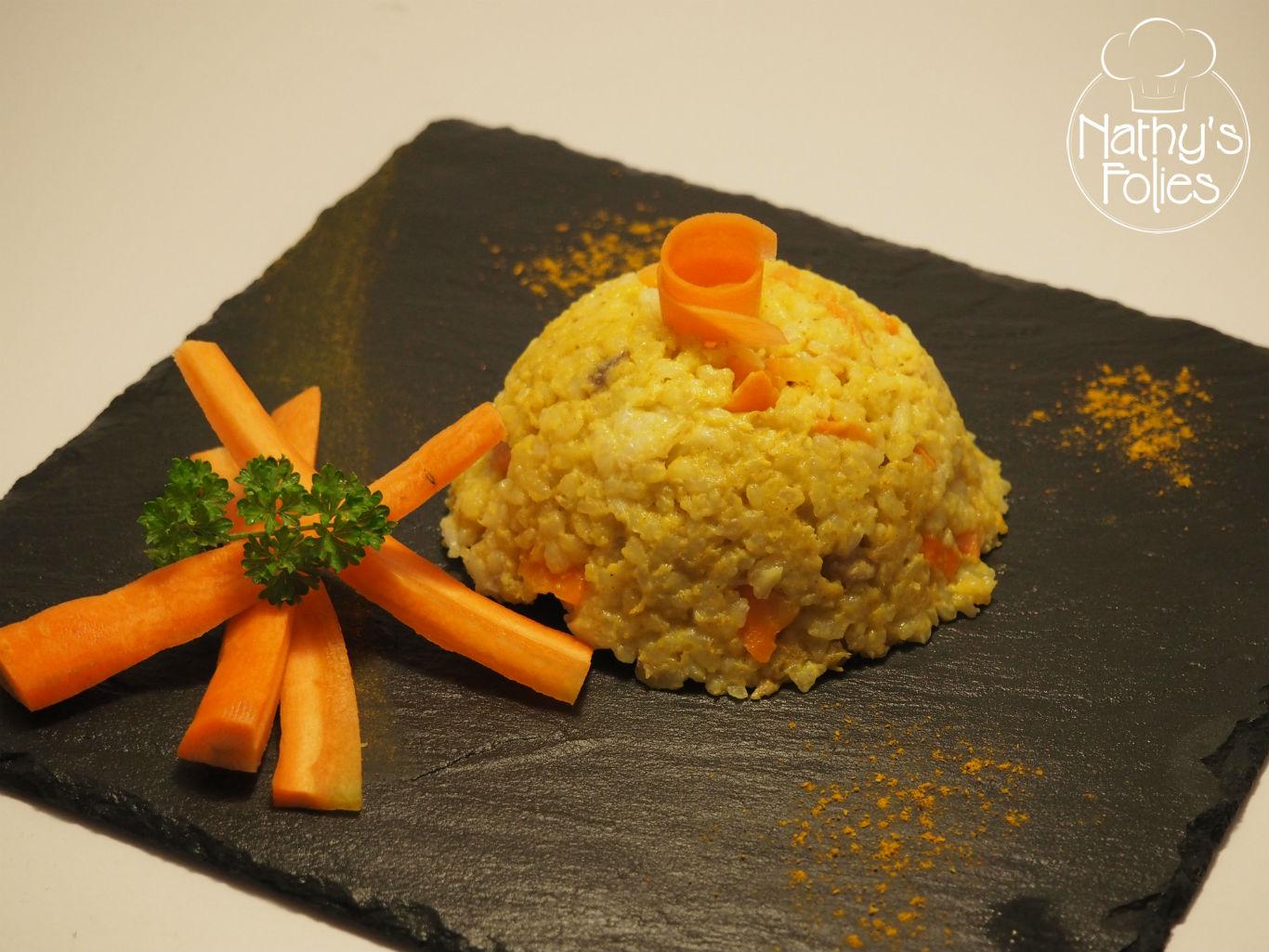 Risotto aux carottes et au filet mignon de porc